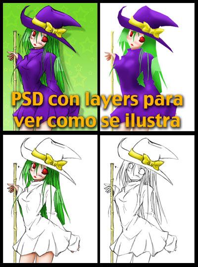 Archvio PSD de una ilustracion para referencia de como se puede hacer una ilustracion en photoshop