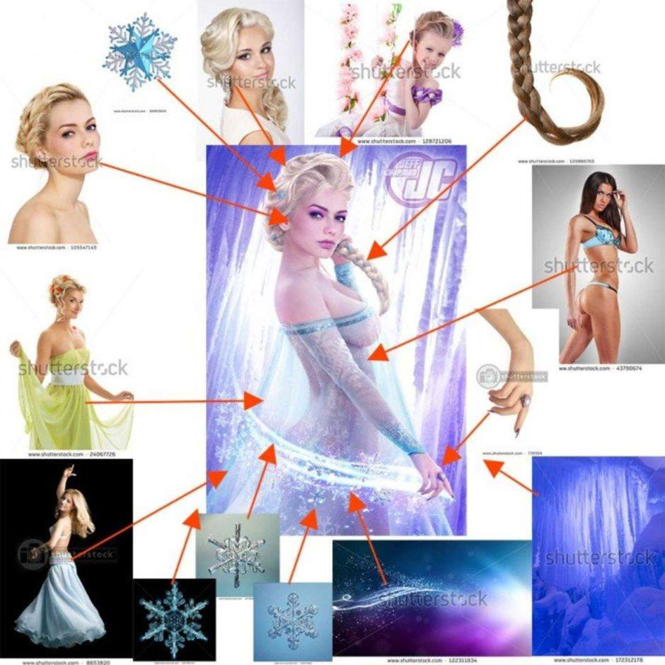 how to illustrate Frozen with sotck images